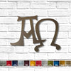 Alpha omega symbol metal wall art home decor handmade by Functional Sculpture llc