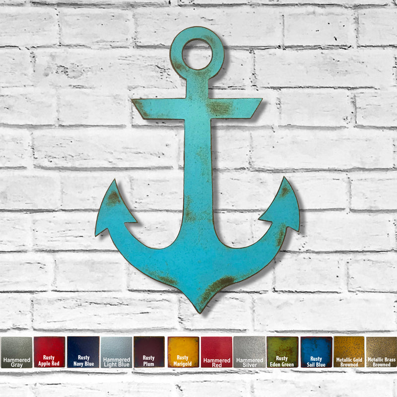 Navy Anchor metal wall art home decor handmade by Functional Sculpture llc