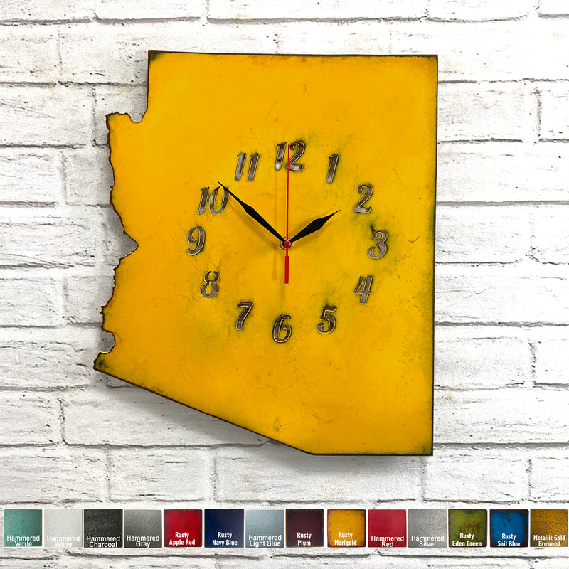 Arizona map with clock metal wall art home decor handmade by Functional Sculpture llc