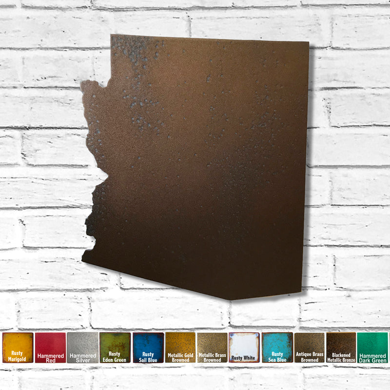 Arizona map metal wall art home decor handmade by Functional Sculpture LLC