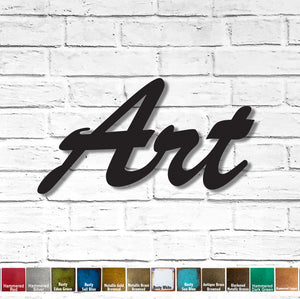 "Art - Brush Script - Measures 24"" wide x 12.8"" tall - Choose you Patina Color - Metal Wall Art Home Decor - Handmade"