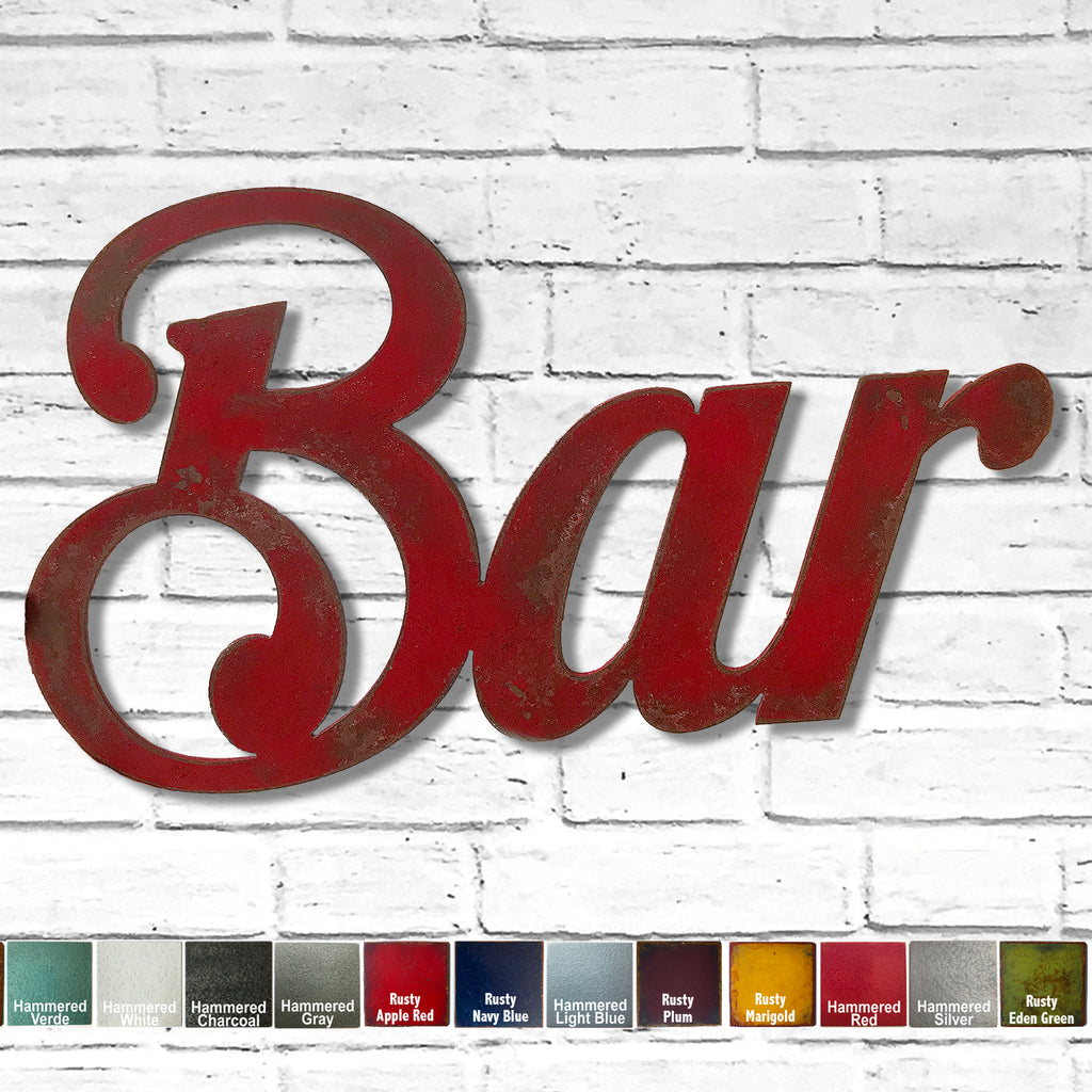 Bar sign metal wall art home decor handmade by Functional Sculpture llc