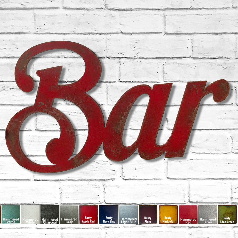 "Bar sign - Metal Wall Art Home Decor - Handmade in the USA - Choose 17"", 30"" or 40"" Wide - Choose your Patina Color! FREE SHIPPING"