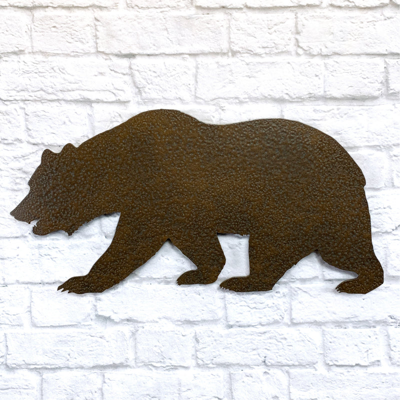 Bear shape metal wall art home decor cutout handmade by Functional Sculpture llc