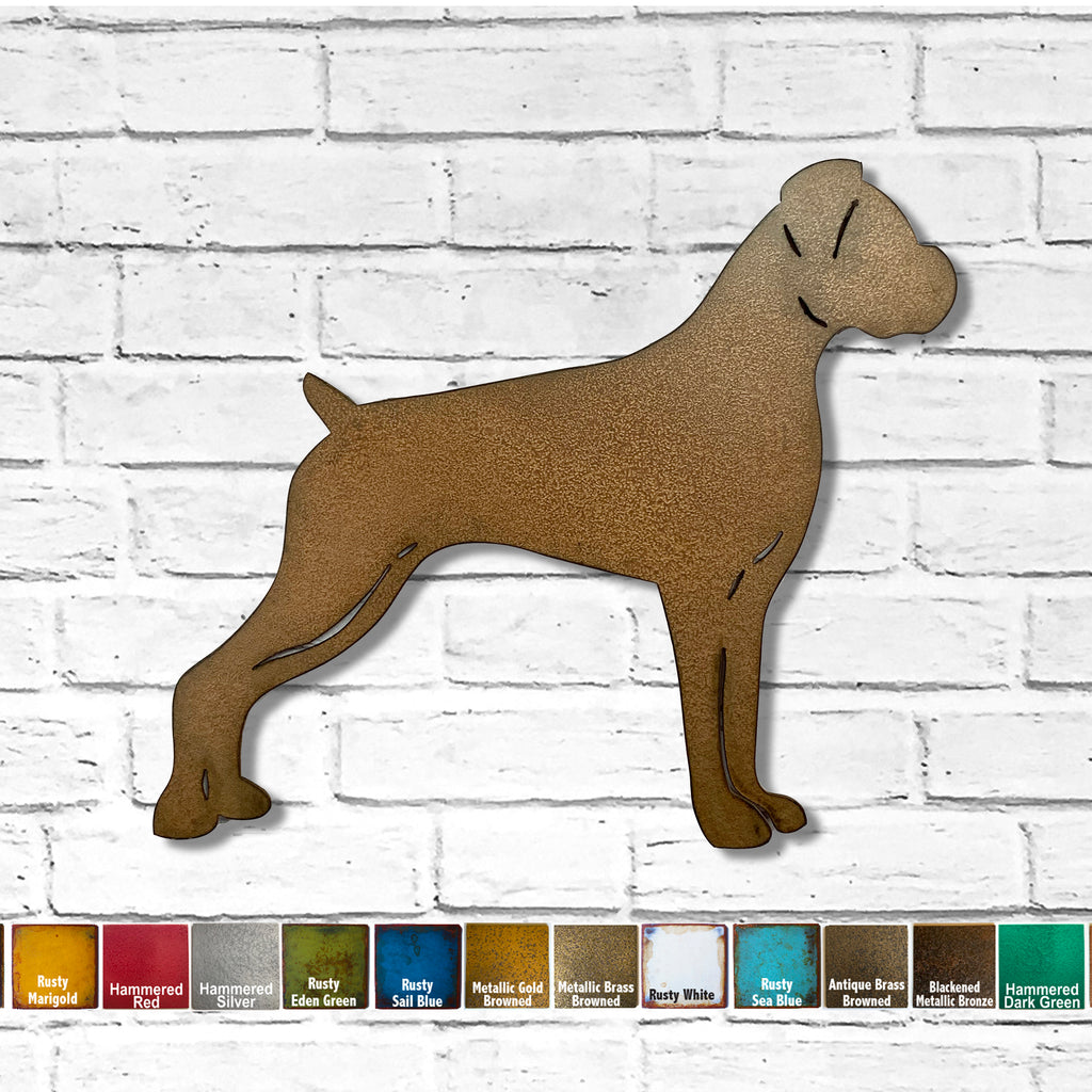Boxer dog shape metal wall art home decor cutout handmade by Functional Sculpture llc