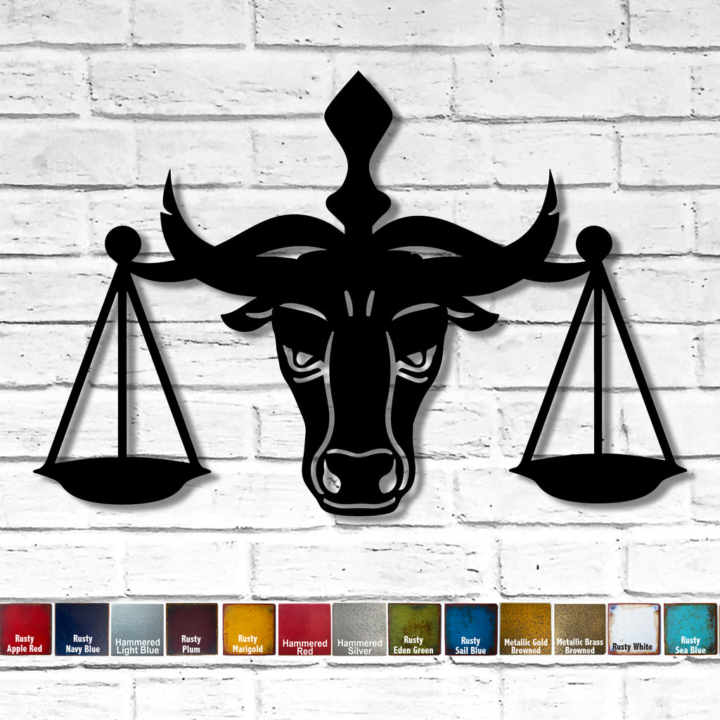 Bull with Justice Scale law symbol metal wall art home decor cutout handmade by Functional Sculpture llc