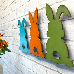 "Bunnies - Three Multi-Color - Metal Wall Art Home Decor - Handmade in the USA - Measures 14"" wide x 8.5"" tall - Easter Decoration Bunny Rabbits"