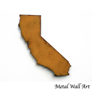 "California - Metal Wall Art Home Decor - Handmade in the USA - Choose 10"", 16"" or 22"" Tall - Choose your Patina Color! Choose any state - FREE SHIP"