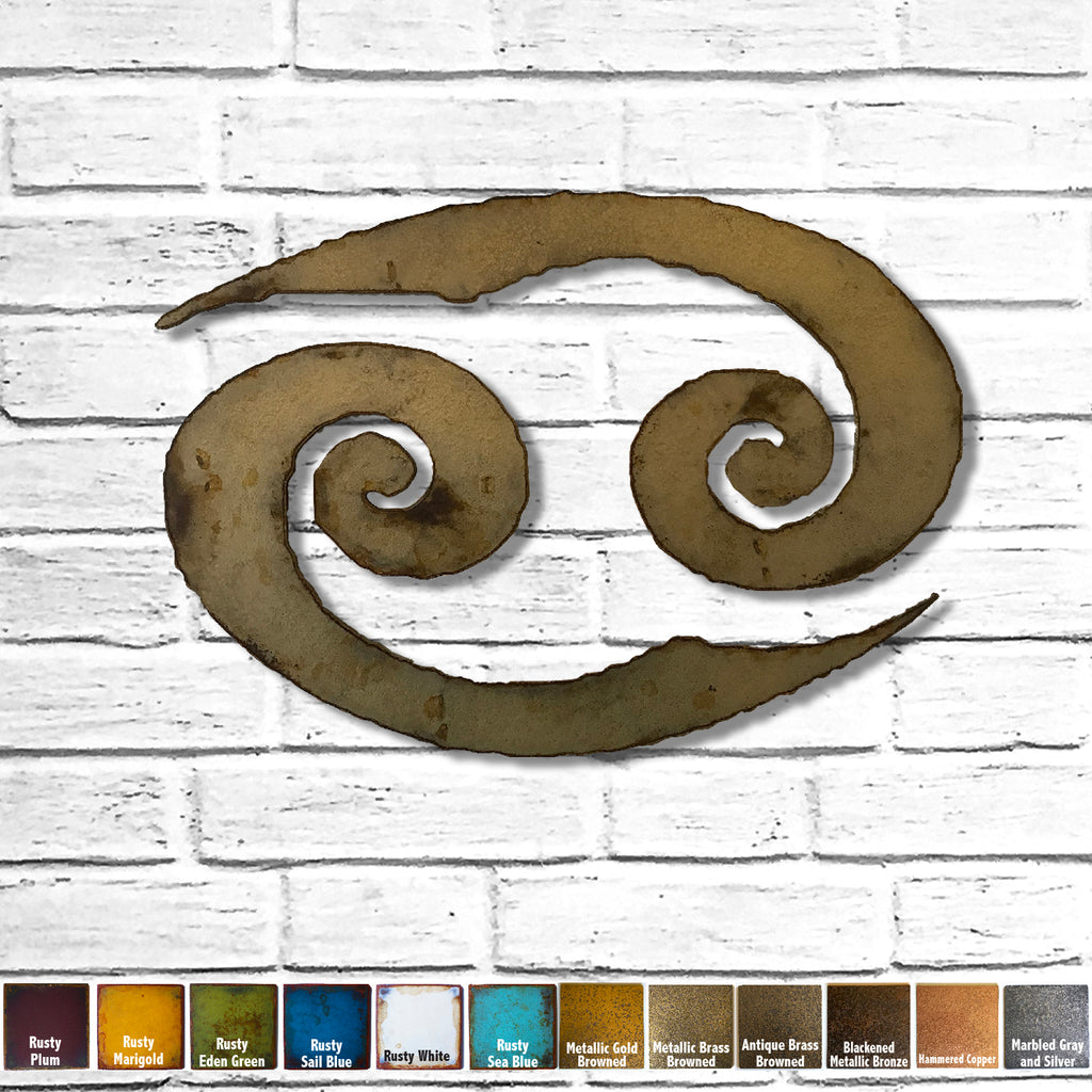 Cancer zodiac symbol metal wall art home decor cutout handmade by Functional Sculpture llc