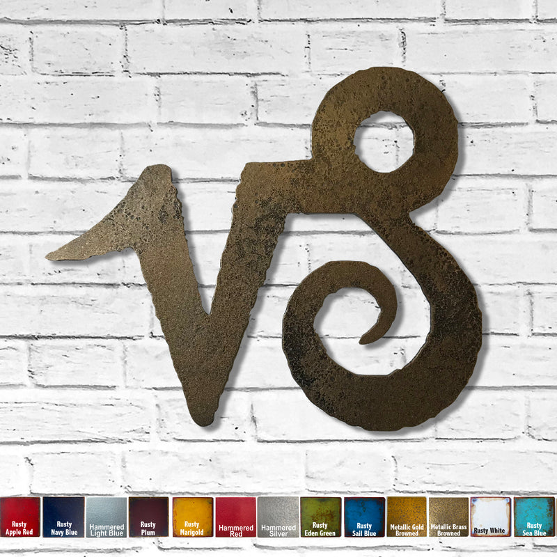 "Capricorn Symbol - Metal Wall Art Home Decor - Made in the USA - Choose 11"", 17"" or 23"" Tall - Choose your Patina Color! FREE SHIPPING"