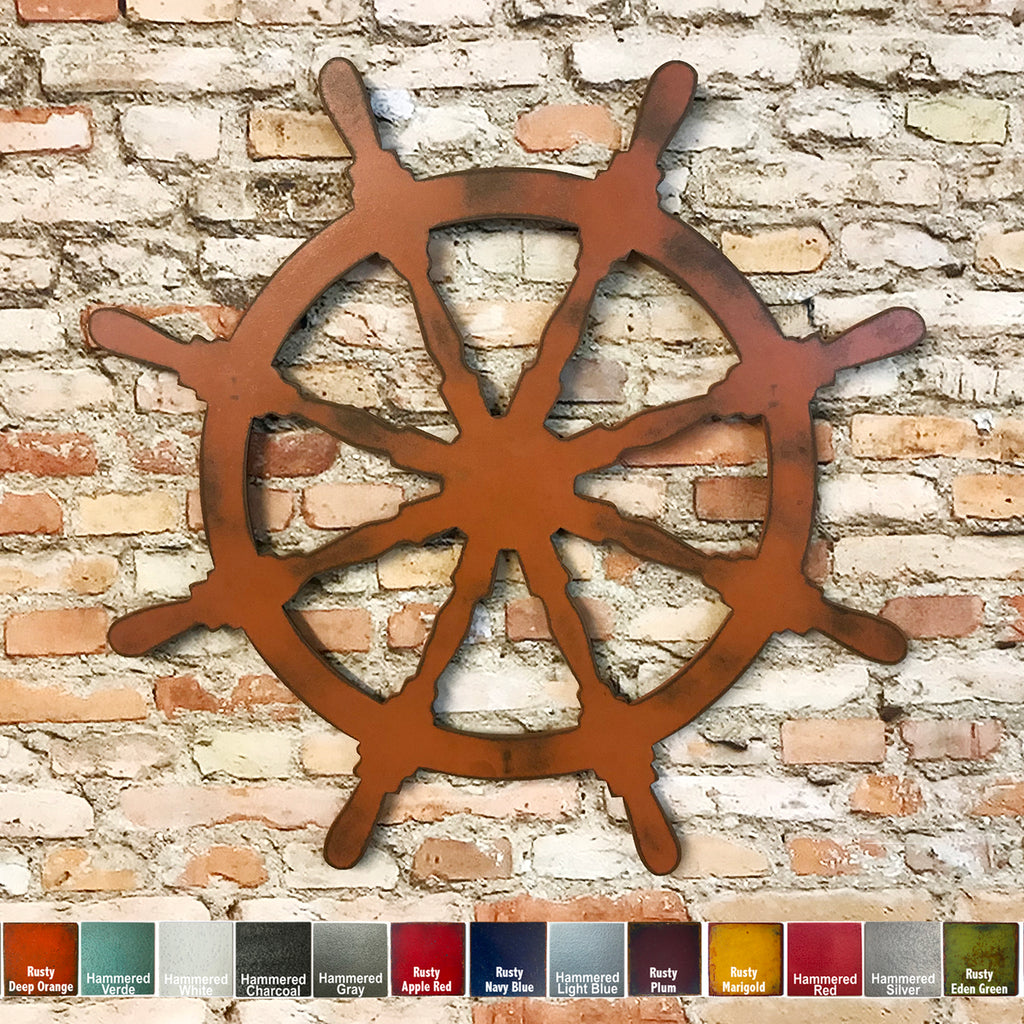 "Captain's Wheel - Metal Wall Art Home Decor - Handmade in the USA - Choose 11"", 17"" or 23"" - Choose your Patina Color - Free Ship"