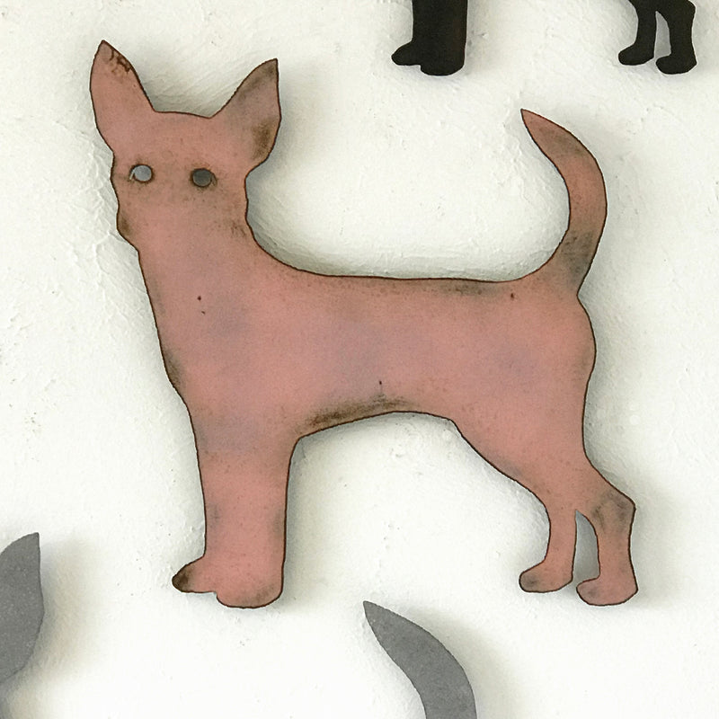 Chihuahua dog shaped metal wall art home decor cutout handmade by Functional Sculpture llc