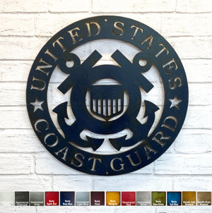 "Coast Guard Symbol - Metal Wall Art Home Decor - Handmade in the USA - Choose 12"", 17"" or 23"" Wide, Choose your Patina Color - Free Ship"