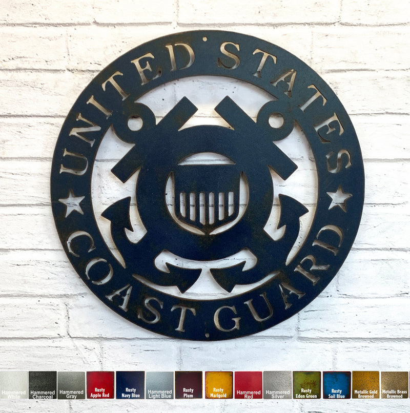 "Coast Guard Symbol - Metal Wall Art Home Decor - Handmade in the USA - Choose 12"", 17"" or 23"" Wide, Choose your Patina Color! FREE SHIPPING"
