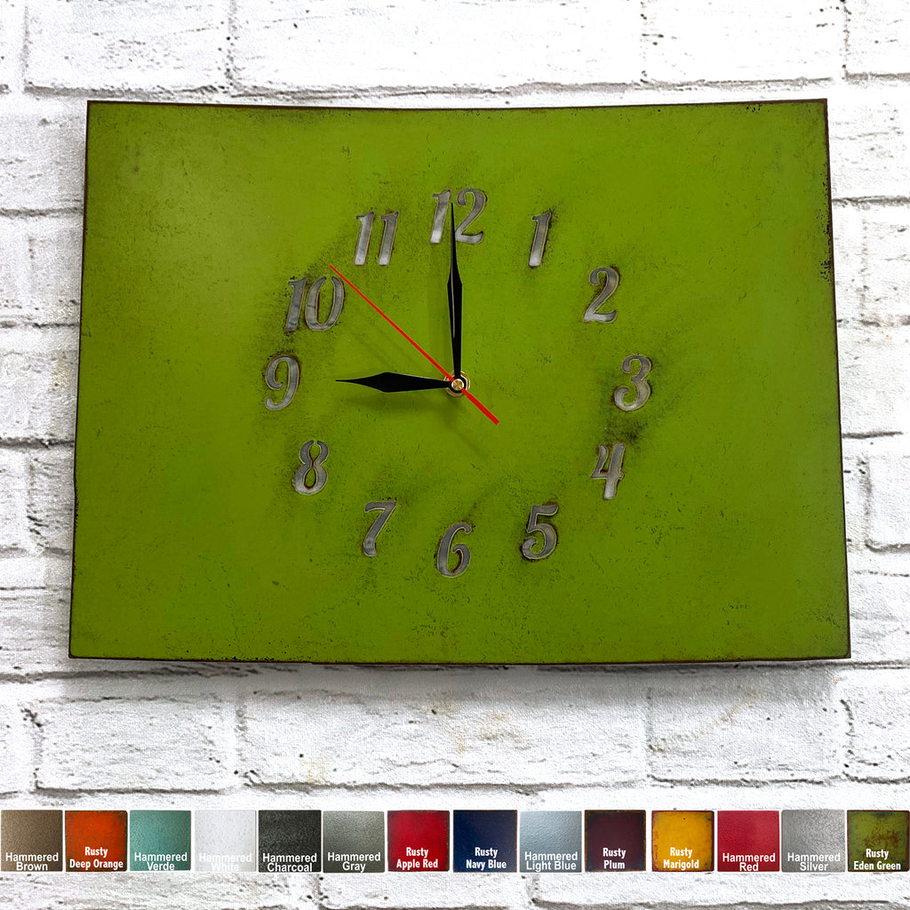 "Colorado Metal Wall Art Clock - Italic Numbers - Home Decor - Handmade in the USA - Choose 16"" or 22"" wide, Choose your Patina Color! FREE SHIPPING"