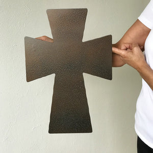 "Flared Tip Cross - Metal Wall Art Home Decor - Made in the USA - Choose 11"", 17"" or 23"" Tall - Choose your Patina Color! FREE SHIPPING"