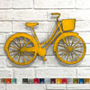 Bicycle with basket old rusty metal wall art home decor cutout handmade by Functional Sculpture llc