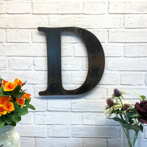 "Letter D - Metal Wall Art Home Decor - Made in the USA - Choose 10"", 12"" or 16"" Tall - Choose your Patina Color! Choose any letter FREE SHIPPING"