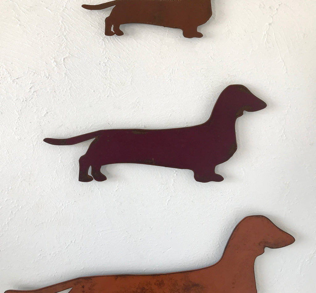 Dachshund dog shaped metal wall art home decor handmade by Functional Sculpture llc