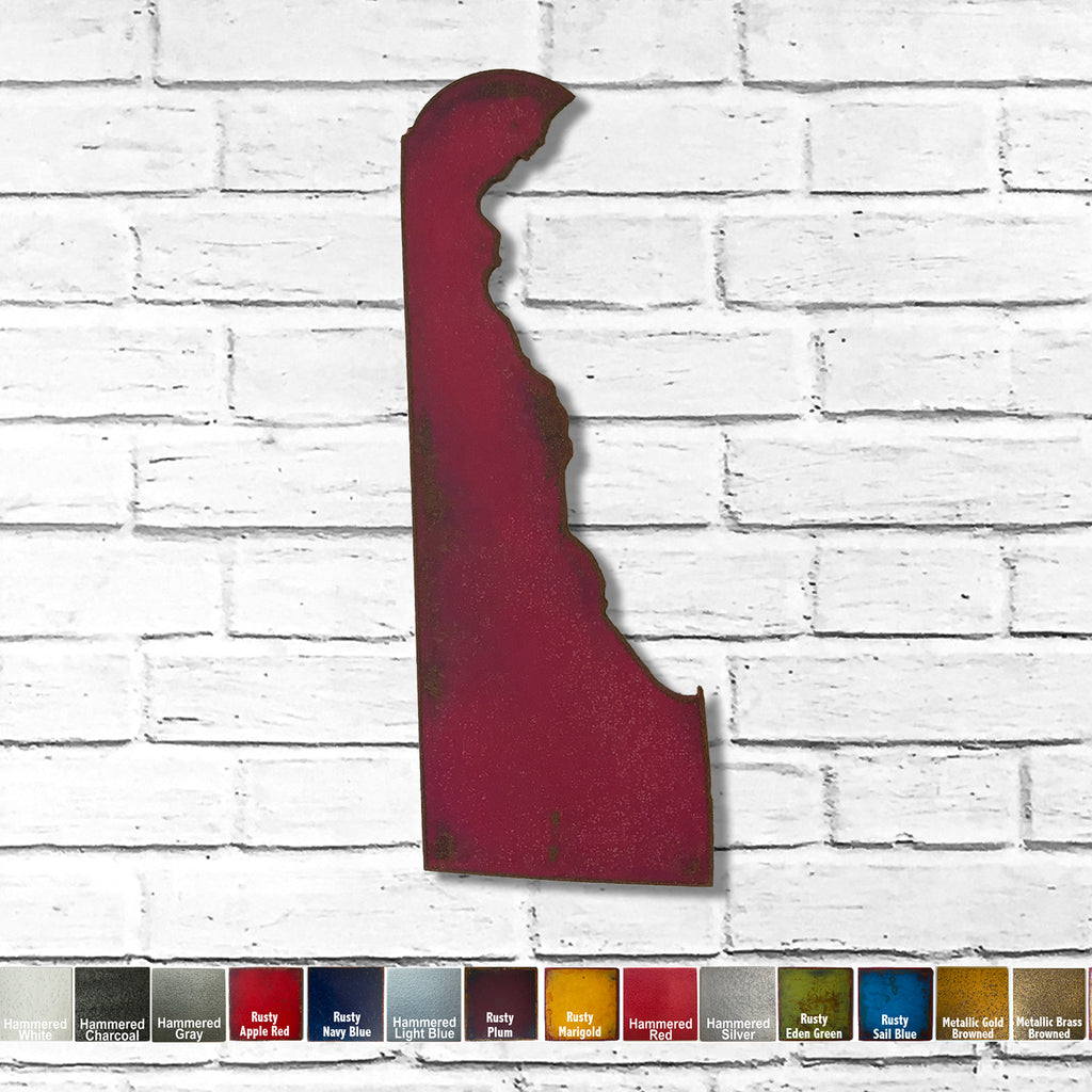 "Delaware - Metal Wall Art Home Decor - Handmade in the USA - Choose 11"", 17"" or 24"" Tall - Choose your Patina Color! Choose any State Free Shipping"