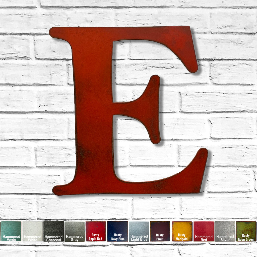 alphabet letter e metal wall art home decor cutout handmade by Functional Sculpture llc
