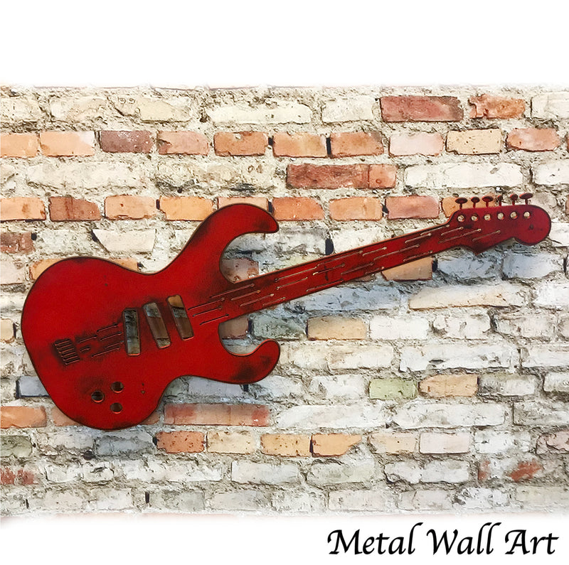 Electric Guitar shaped metal wall art home decor cutout handmade by Functional Sculpture llc