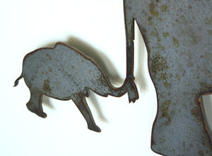 "Elephant with Baby - Metal Wall Art Home Decor - Handmade in the USA - Choose 11"", 17"" or 24"" Wide Choose your Patina Color! FREE SHIPPING"