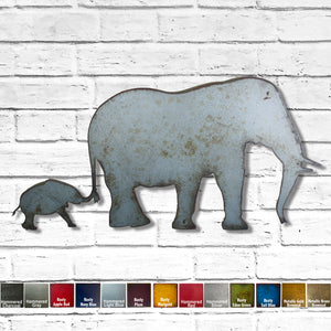 Elephant with baby metal wall art cutout home decor handmade by Functional Sculpture llc