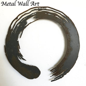 "Enso Circle - Metal Wall Art Home Decor - Handmade in the USA - Choose 12"", 17"" or 24"", Choose your Patina Color - Free Ship"