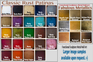 Classic rust color patina and fabulous metallics patina for metal wall art by Functional Sculpture llc