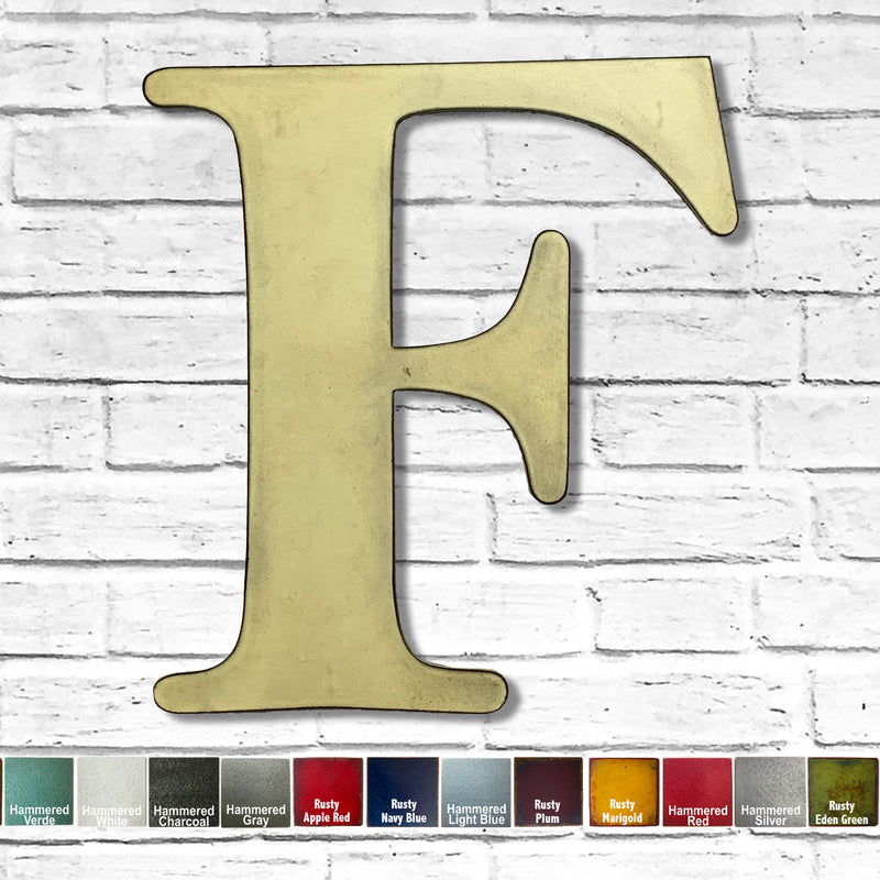 "Letter F - Metal Wall Art Home Decor - Made in the USA - Choose 10"", 12"" or 16"" Tall - Choose your Patina Color! Choose any letter - Free Ship"