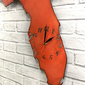 "Florida Metal Wall Art Clock - Italic Numbers -  Home Decor - Handmade in the USA - Choose 16"" or 22"" wide, Choose your Patina Color - Free Ship"