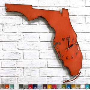 Florida map metal wall art clock home decor handmade by Functional Sculpture llc