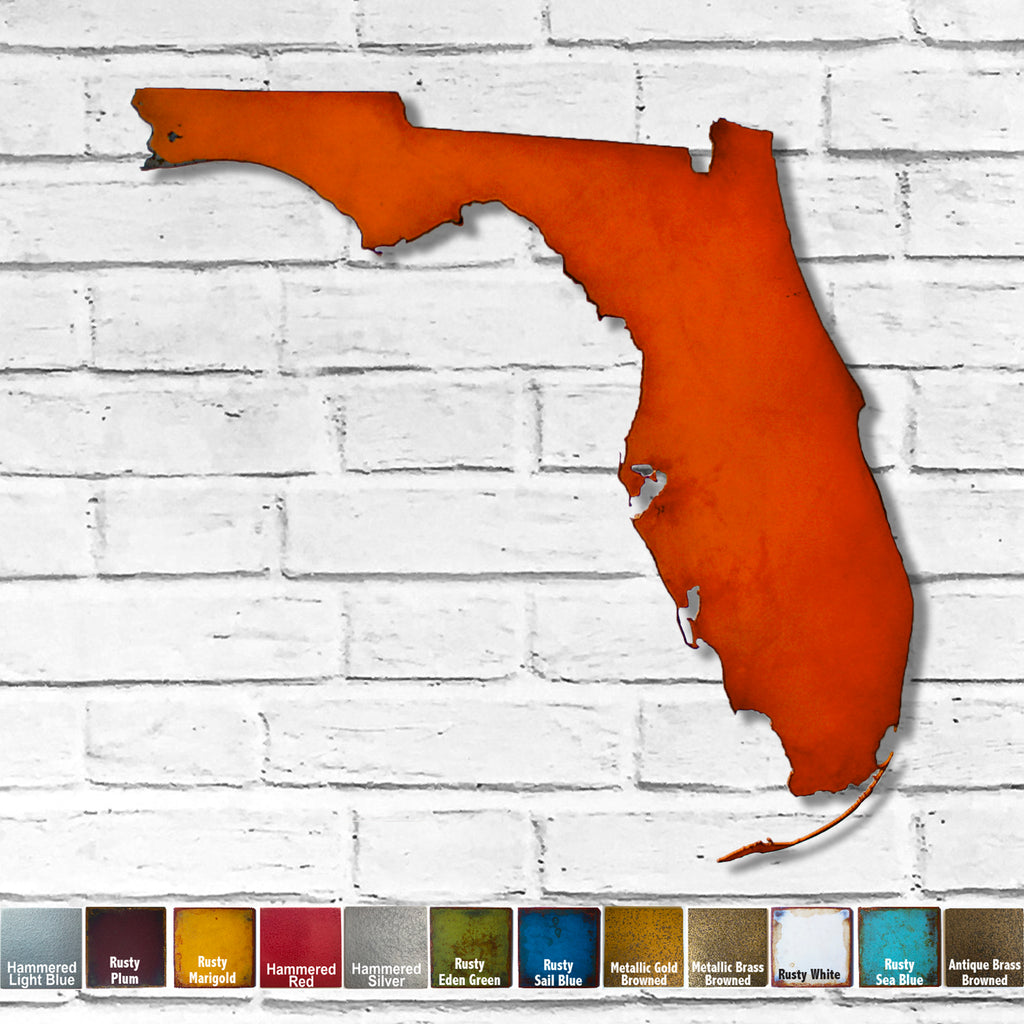 Florida map metal wall art home decor handmade by Functional Sculpture LLC