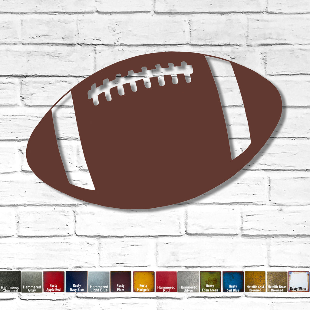 "Football - Metal Wall Art Home Decor - Handmade in the USA - Choose 12"", 17"" or 23"" Wide - Choose your Patina Color! FREE SHIPPING"