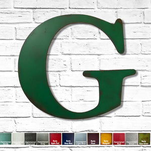 "Letter G - Metal Wall Art Home Decor - Made in the USA - Choose 10"", 12"" or 16"" Tall - Choose your Patina Color! Choose any letter FREE SHIPPING"