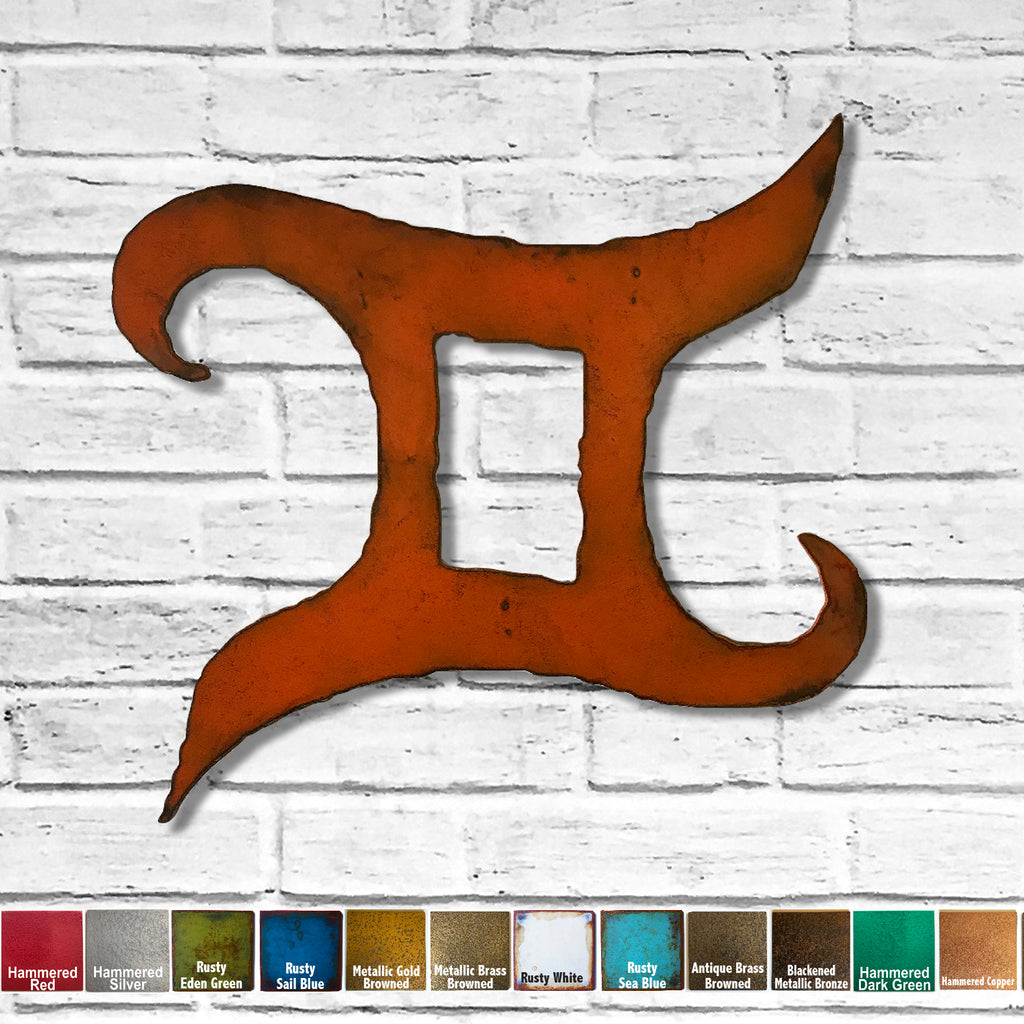 Gemini zodiac symbol cutout metal wall art home decor handmade by Functional Sculpture llc