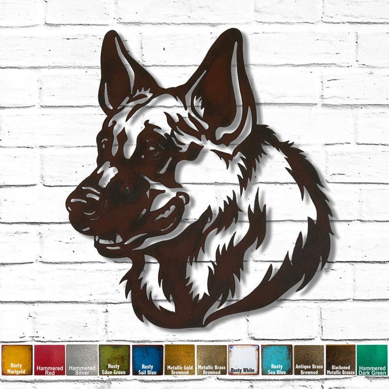 "German Shepherd Bust - Metal Wall Art Home Decor - Handmade in the USA - Choose 11"", 17"" or 23"" Tall - Choose your Patina Color - Free Ship"