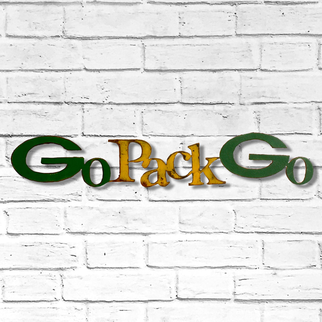 go pack go packers metal wall art home decor handmade by Functional Sculpture llc
