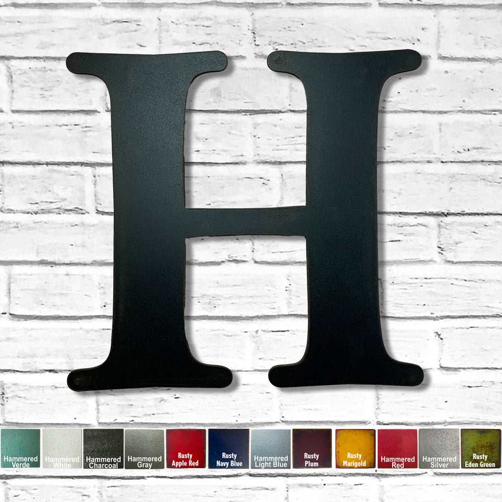 alphabet letter h metal wall art home decor cutout handmade by Functional Sculpture llc