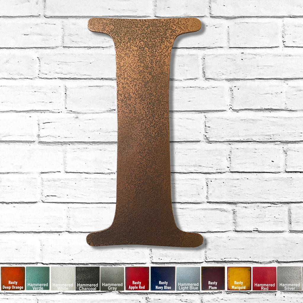 "Letter I - Metal Wall Art Home Decor - Made in the USA - Choose 10"", 12"" or 16"" Tall - Choose your Patina Color! Choose any letter FREE SHIPPING"