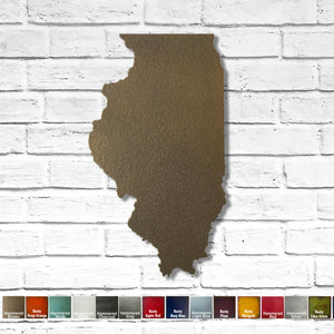 "Illinois - Metal Wall Art Home Decor - Handmade in the USA - Choose 10"", 16"" or 22"" Tall - Choose your Patina Color! Choose any state - FREE SHIP"