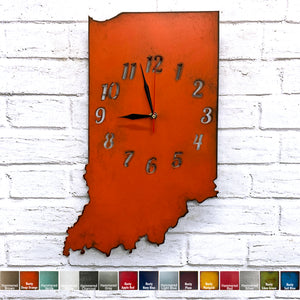 Indiana map metal wall art clock home decor handmade by Functional Sculpture llc