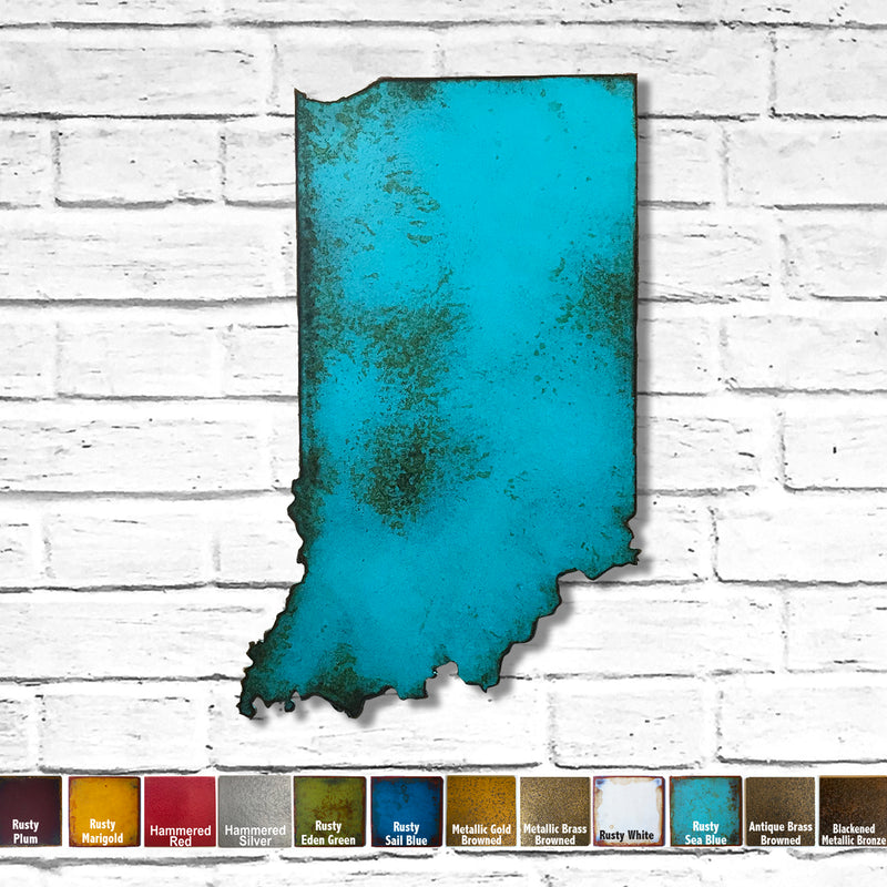 "Indiana - Metal Wall Art Home Decor - Handmade in the USA - Choose 11"", 17"" or 23"" Tall - Choose your Patina Color! Choose any State Free Shipping"