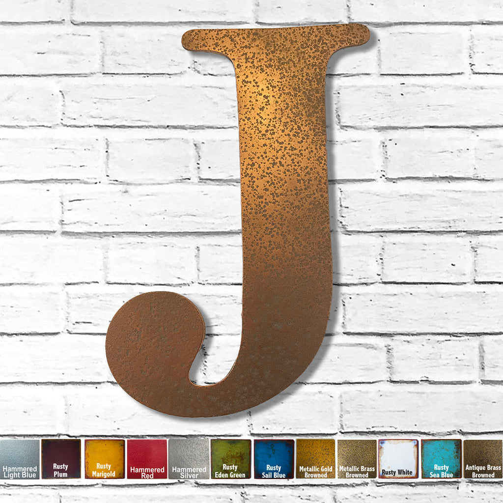 "Letter J - Metal Wall Art Home Decor - Made in the USA - Choose 10"", 12"" or 16"" Tall - Choose your Patina Color! Choose any letter FREE SHIPPING"