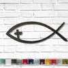 "Jesus Fish with Cross Eye - Metal Wall Art Home Decor - Made in USA - Measures 42"" wide x 15"" tall - Choose your Patina Color"