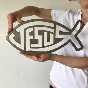 "Jesus Fish with Block Text - Metal Wall Art Home Decor - Made in the USA - Choose 11"", 17"" or 23"" Wide - Choose your Patina Color - Free Ship"
