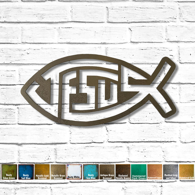Jesus text in fish symbol metal wall art home decor handmade by Functional Sculpture llc