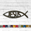 Jesus fish with text symbol metal wall art home decor handmade by Functional Sculpture llc