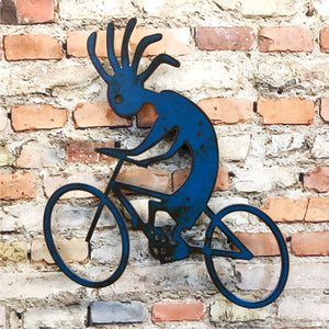 Kokopelli on bike symbol metal wall art home decor handmade by Functional Sculpture llc
